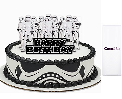 Preisvergleich Produktbild 1 x Coco & Bo – Star Wars Stormtrooper Happy Birthday Cake Topper, Diener des Empire, Rebel in die Reihen Thema Party Dekorationen & Cake Zubehör – May the Force be with you