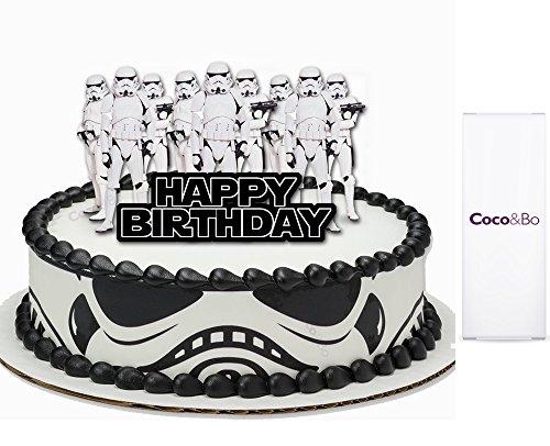 1x Coco & Bo–Star Wars Stormtrooper Happy Birthday Cake Topper, Diener des Empire, Rebel in die Reihen Thema Party Dekorationen & Cake Zubehör–May the Force be with you (Bösewichte In Star Wars)