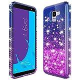 MASCHERI Hülle für Samsung Galaxy J6 2018, Fließen Flüssig Bling Diamant Dynamisch Glitzer Kratzfest Silikon Schutzülle Luxus handyschalen Shiny Glanz Cover - Blau&Lila