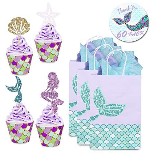frau Kuchendekoration Glitter Cupcake Toppers und Wrappers Verpackung für Kinder Party Kuchen Dekoration Geburtstag Party Deko (60 Stück) ()