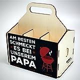 Bierträger aus Holz - SixPack - Vatertag - Geschenke für Männer (Am besten schmeckt es bei unserem)