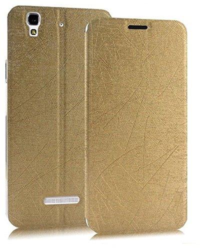 Heartly Premium Luxury PU Leather Flip Stand Back Case Cover For Micromax Yu Yureka / Yureka Plus Cyanogenmod - Hot Gold