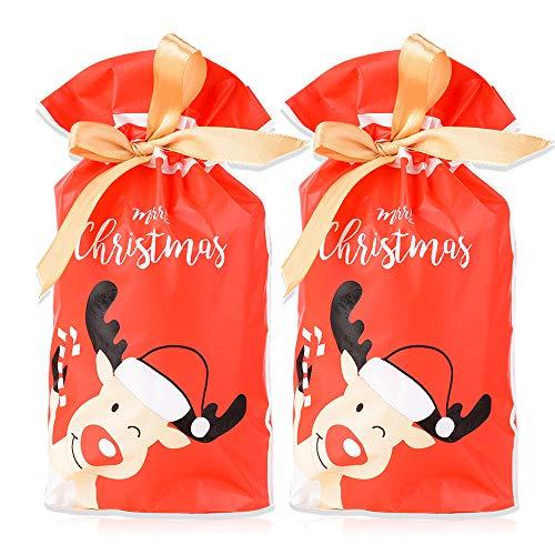 Flofia 50pz sacchetti regalo plastica natale sacchetti confezione per regalo natalizio con coulisse nastro raso per regalo dolce caramelle biscotti sacchetti per natale festa bomboniere renna rossa
