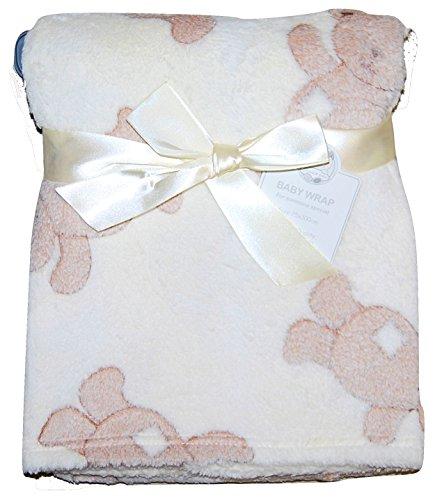Baby Mädchen Jungen Unisex Soft Fleece Wrap Decke Kinderwagen Gitterbett Moses Korb creme Teddy Bär -