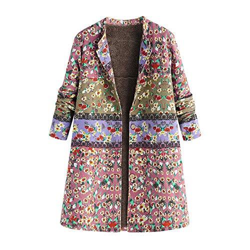 KOKOUK Women Autumn Winter Warm Comfortable Coat Casual Fashion Jacket Outwear Button Floral Print Pocket Vintage Oversize Coat (Pink) -