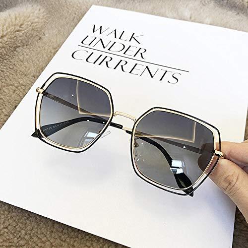 Polarized Sunglasses Damen Round Face Elegante Sonnenbrille Double Circle Square Net Red Driving Sonnenbrille Gold Frame Schwarz Grau @ Gold Frame Double Grey Piece