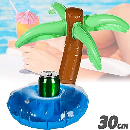 Trade shop traesio - porta bibite gonfiabile isola con palma galleggiante porta lattina piscina 30 cm
