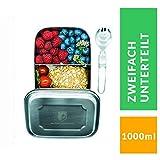 ALPIN LOACKER 1000ml Edelstahl Lunchbox + Göffel | lebensmittelechte Vesperdose für Erwachsene und Kinder | Brotdose + 350ml Edelstahl Thermosflasche (2 Fach unterteilt ohne 350ml Thermosflache)