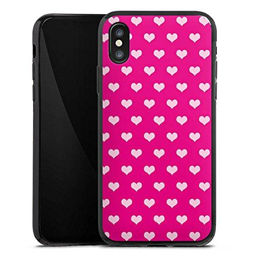 Apple iPhone X Silikon Hülle Case Schutzhülle Polka Herzchen Muster Rot Silikon Case schwarz