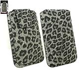 Emartbuy® Klassischer Bereich FauxWildlederLeopard Grey Slide in Hülle Tasche Sleeve Halter ( Größe 3XL ) Mit magnetischer Klappen & Pull Tab Mechanism Passend für Lumigon T2 HD