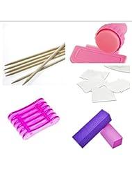 New Nail Art Maniküre Set, Rosa Stamping Set, Pinselhalter, Rosenholzstäbchen, 50 Zelletten, 2 Nagel Buffer Pflege Zubehör für Nagel Design