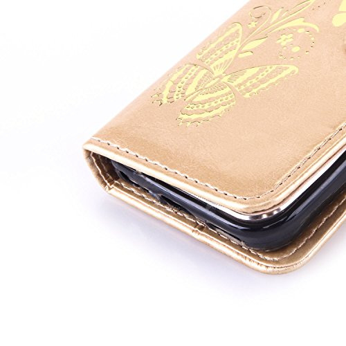 Sunroyal® Custodia per Apple iPhone 5C, Portafoglio Wallet Flip Libro Dipinto Case Cover in PU pelle Borsa Chiusura Magnetica Shock-Absorption Ultra Slim TPU Silicon Gel Protezione Con Anti-Dust Stras Farfalla doro - Oro