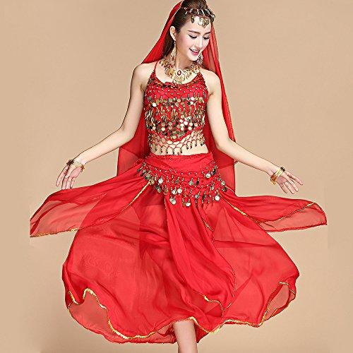 Xueyanwei professionale lady danza del ventre costumi set danze indiane abito performance ballo nazionale rosso 5-piece set