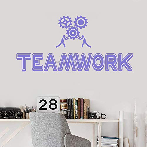 Modeganqingg Teamwork Gear Office Wall Art Decal Business Success Work Idea Ispirazione Decorazione d'interni Viola XS 56cm x 27cm