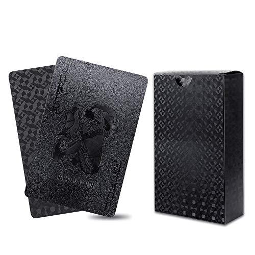 Kbnian Poker Karte Schwarze Goldfolie Pokerkarten Kunststoff Pokerkarten wasserdichte Spielkarte Professionelle Spielkarten PVC-Spielkarten für Party-Spiele