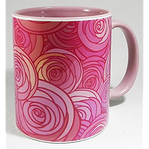 taza del dia de la madre The Pink Roses Mug with pink inner and handle by Half a Donkey