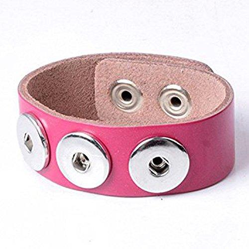 Einfach Ever Druckknöpfen 3-snap Pink Echt Leder Armband für 18mm austauschbar Snap Jewelry Zubehör 2Stück (Snap Leder Pink)