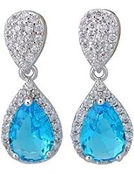 Pendientes colgantes Plata Azul Blanco Topacio Aguamarina para mujer Fashion joyas E483