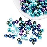 Pandahall 400 Pcs Perlas de Cristal Nacarado, Cuentas de Pulsera Collar Pendientes, Tonos Caramelo, Color Mezclado, Océano, Diámetro: 4 mm, Agujero: 1mm