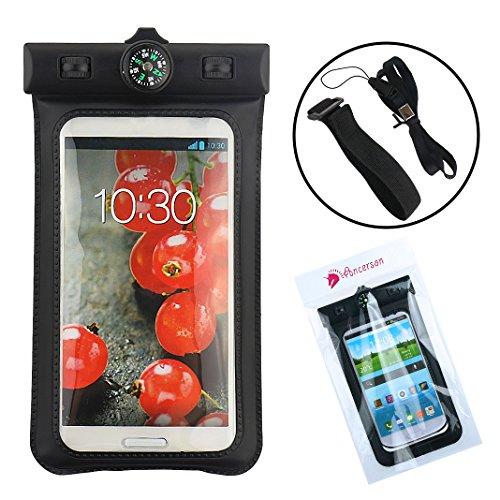 Ancerson Schwimmen Wasserdicht Schutzhülle Wasserfest Beutel Tasche Case HülleSchalen mit Kompass Für iPhone 4 4s 5 5c 5s 6/Samsung Galaxy S6/ S4 I9500 / S5 I9600 / S3 I9300 / Note 2 N7100/ Note 3 N9000/,LG G3/LG G2/LG Optimus G Pro E980 F240 E986 F240k, Huawei Ascend P6/ HTC one M9/M8/M7/ Sony Xperia Z L36h/ Z1 L39h /Z2/ Z3 und andere Smartphones, die kleiner als Samsung Galaxy Note 3 (Schwarz)