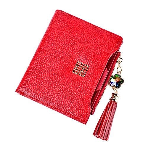 Genda 2Archer Moda Fiore Nappa Bi-Fold Portafogli e Pelle Borsa per la Donna (Blu) Rosso