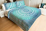 Green Ombre Mandala Printed Double Comforter Duvet Set With Pillow Cover Quilt Blanket Reversible Rajai Quilted Print Comforter Set By Handicraft-Palace