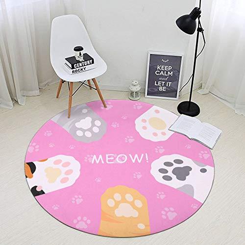 wuliwen Cartoon Teppich Schöne Kitty Paw Prints Muster Matte Teppich Für Treppen Runde Toilette Boden Schlafzimmer Wohnzimmer Badezimmer Küche Home Bereich Teppich D- 150 * 150CM -