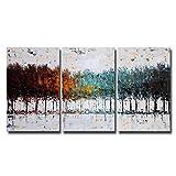 Bunter Wald auf Leinwand, Gemälde, Abstrakt 100% handgemalte Bilder für Schlafzimmer Wohnzimmer Dekoration, 40,6x61cm Pro Stück, 3Stück pro Set, 16x24 inch unframed