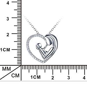 Silver Mountain L'amore della madre Cuore Collana Pendente con Catena 45cm
