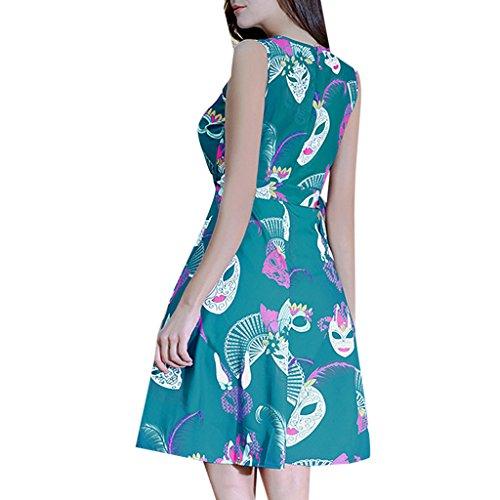 MAOMAO Robe de Bal/Soirée Sexy Vintage année 40 50 60 avec l'impression Rose pour Anniversaire Gala Cérémonie Femme Vert