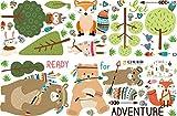 WandSticker4U- XL - Sticker mural pour chambre d'enfant - Motif : lapin - 162 x 83 cm - Motif : animaux de la forêt - Vert