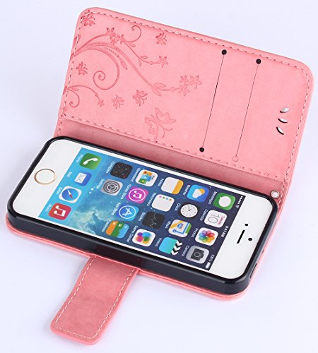 C-Super Mall-UK Apple iPhone 6 / 6s 4.7 Inch custodia,sbalzato farfalla & fiore modello PU Pelle Portafoglio Stand Flip cover per Apple iPhone 6 / 6s 4.7 Inch pink
