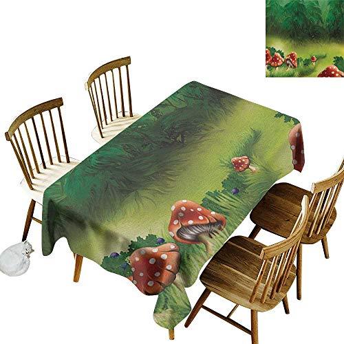 "Rectangular rectangular round tablecloth W60"" x L84"" Mushroom Fly Agarics Magical Wonderland Lawn Meadow Scenery Greenwood Orange Fern Green Apple Green Great for family & More"