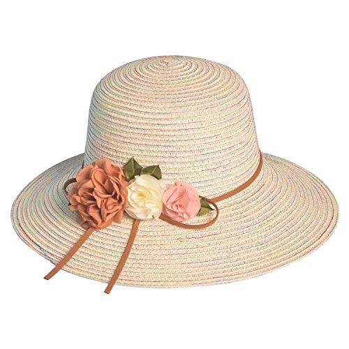 iKulilky Sonnenhut Strohhut Damen Sommer Strandhut mit Breiter Krempe Floppy Packable UV-Schutz Kappe Klapp Reise Blumenkappe Ferien ()