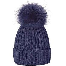 Amazon.es  gorros de lana con pompon - Azul 1cfbf55facb