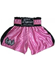 4Fighter Shorts Muay Thai Classic rosa-negro con la 4Fighter logo en la pierna, Talla:S