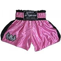4Fighter Shorts Muay Thai Classic rosa-negro con la 4Fighter logo en la pierna, Talla:XXS