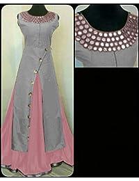 Ap Enterprise Women Banglory Silk Anarkali Semi-Stitched Salwar Suit (AP-ER-Ewrty10757_Gray_Free Size)