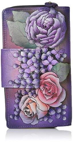Anuschka handgemalte Leder, Damenbörse, Damenkupplung, Geldbörse der Frauen- Organizer Clutch Wallet (Lush Lilac 1120 LLC) (Anuschka Echtes Leder)