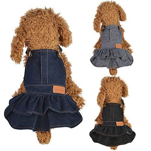 Koojawind Hundewelpen-Kleid-Katze-Reine Farben-Kleid-Haustier-Hundekleidung Kleidung Polyester-Jean-Kleidung FüR AktivitäTs-Partei, Haustier-HundebekleidungsverbäNde