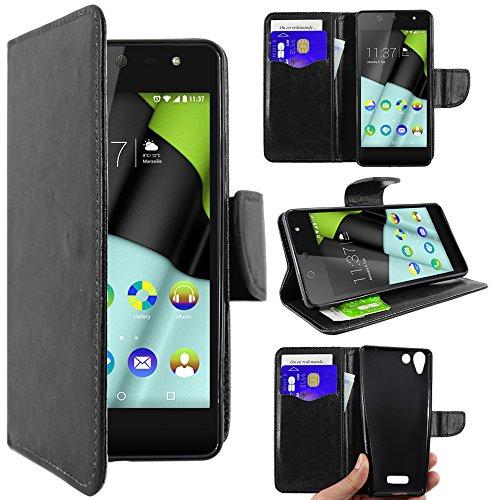 ebestStar - Wiko Selfy 4G Hülle Kunstleder Wallet Case Handyhülle [PU Leder], Kartenfächern, Standfunktion, Schwarz [: 141 x 68.4 x 7.7mm, 4.8'']