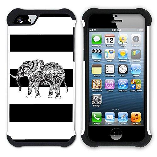 Graphic4You Stammes- Elefant Linien Muster (Wasserblau) Hart + Weiche Kratzfeste Hülle Case Schale Tasche Schutzhülle für Apple iPhone SE / 5 / 5S Schwarz