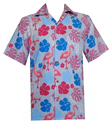 chemises hawaïennes mens Flamingo imprimé feuilles plage Aloha Parti noir Grey