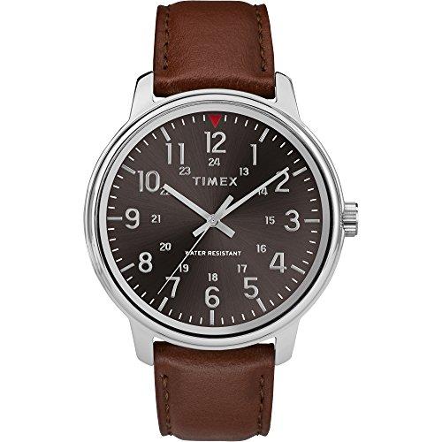 Timex Men's TW2R85700 Basics 43mm Tan/Black Leather Strap Watch (Strap Tan Leather Watch)