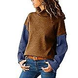 TIFIY Damen Pullover Lässige Rollkragen Stricken Sweatshirts Langärmeliger Farbangepasster Patchwork Bluse (Gelb,EU-34/CN-S)
