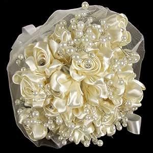 pure silk bridal bouquet cream artificial flowers garden outdoors. Black Bedroom Furniture Sets. Home Design Ideas
