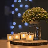 #8: Homesake Frost White Tealight Holder, Set of 4, Glass Votive Candle Holder Table with Free Candle