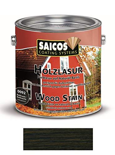 Saicos 'Holzschutzlasur' 0092 Anthrazit 2,5 Liter Gebinde