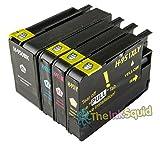 The Ink Squid 1 Set von Hp950Xl und Hp951Xl dreifarbig und schwarz - hohe Kapazität - Tintenpatrone kompatibel mit Hp vonficejet Pro 8100 8600 8600 Plus und 8600 Premium