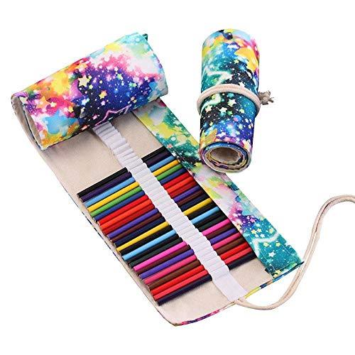 WJSNDPL 48 Buntstifte Wrap Reise Roll Up Case Organizer Aquarell Bleistift Roll Up Canvas Organizer für Erwachsene Färbung - Leder Bleistift Roll-up-case Aus